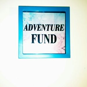 """Adventure Fund"" blue money bank"